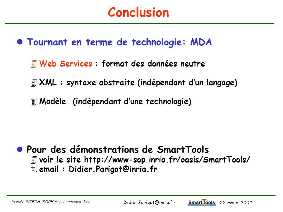 Journée INTECH SOPHIA: Les services Web - 22 mars 2002 Didier.Parigot@inria.fr Conclusion Tournant en terme de technologie: MDA 4Web Services : format