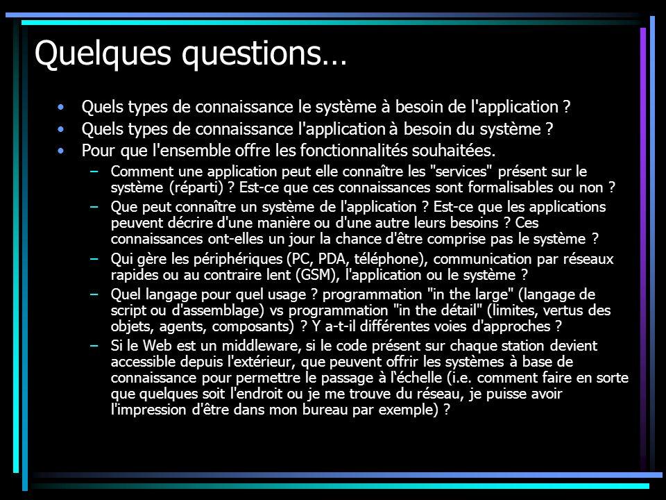 Quelques questions… Quels types de connaissance le système à besoin de l application .