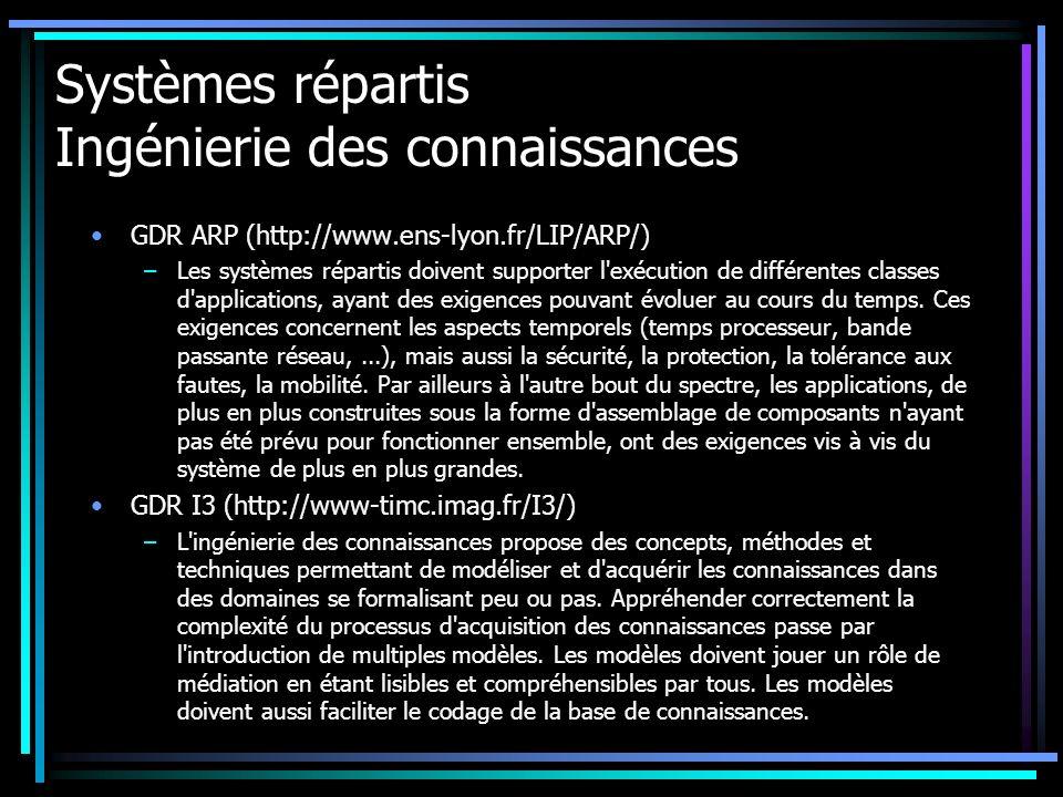 Systèmes répartis Ingénierie des connaissances GDR ARP (http://www.ens-lyon.fr/LIP/ARP/) –Les systèmes répartis doivent supporter l exécution de différentes classes d applications, ayant des exigences pouvant évoluer au cours du temps.