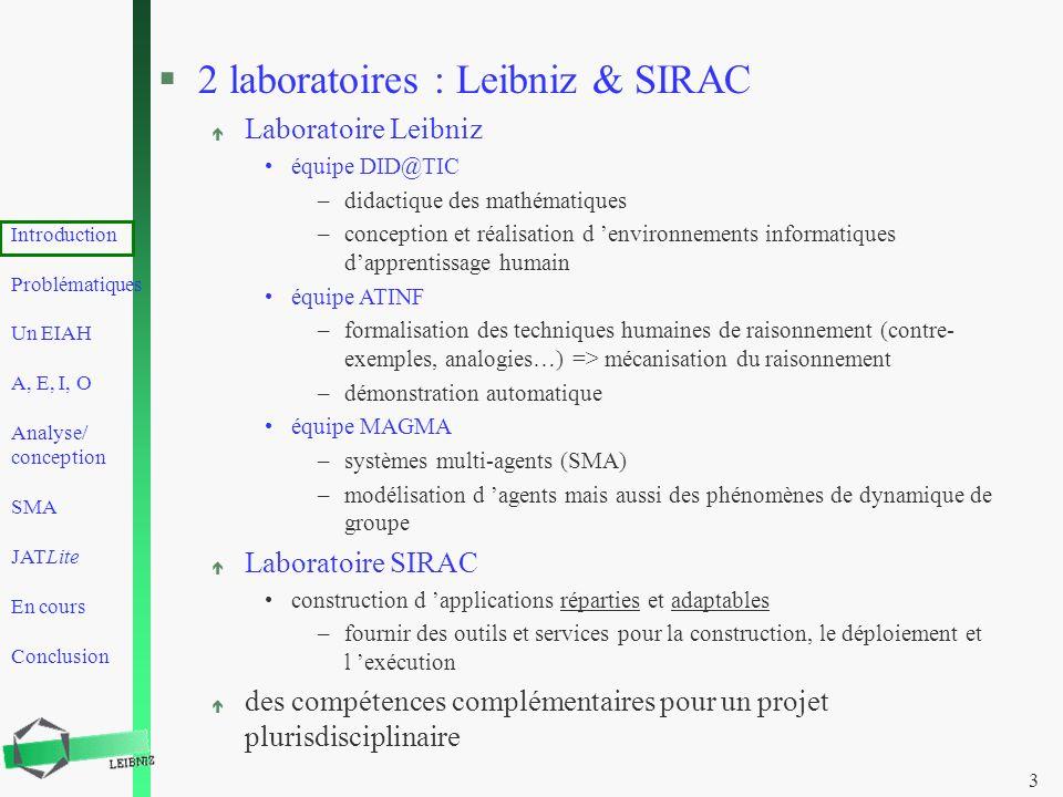 Introduction Problématiques Un EIAH A, E, I, O Analyse/ conception SMA JATLite En cours Conclusion 3 §2 laboratoires : Leibniz & SIRAC é Laboratoire L