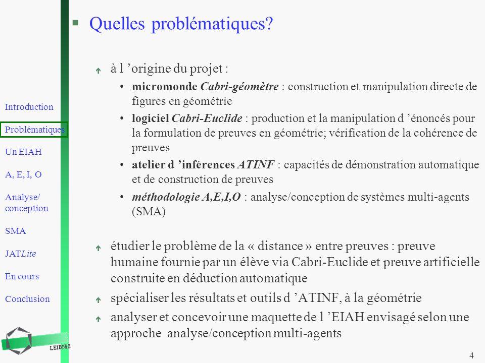Introduction Problématiques Un EIAH A, E, I, O Analyse/ conception SMA JATLite En cours Conclusion 4 §Quelles problématiques? é à l origine du projet
