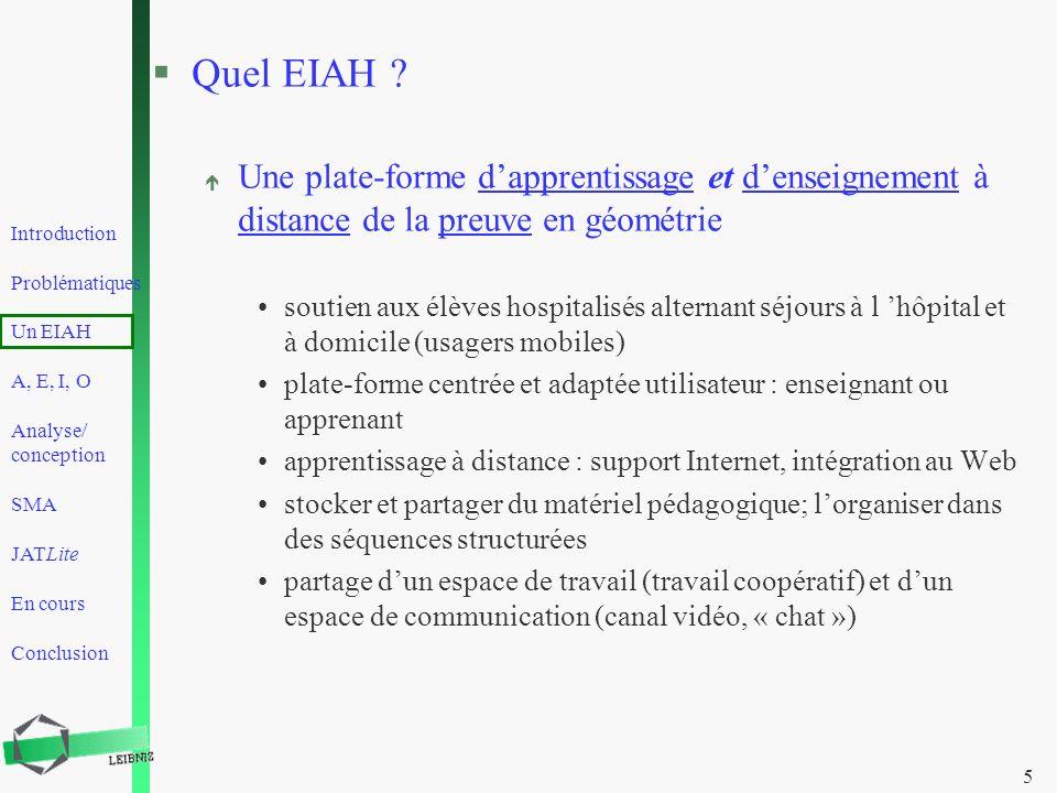 Introduction Problématiques Un EIAH A, E, I, O Analyse/ conception SMA JATLite En cours Conclusion 5 §Quel EIAH ? é Une plate-forme dapprentissage et