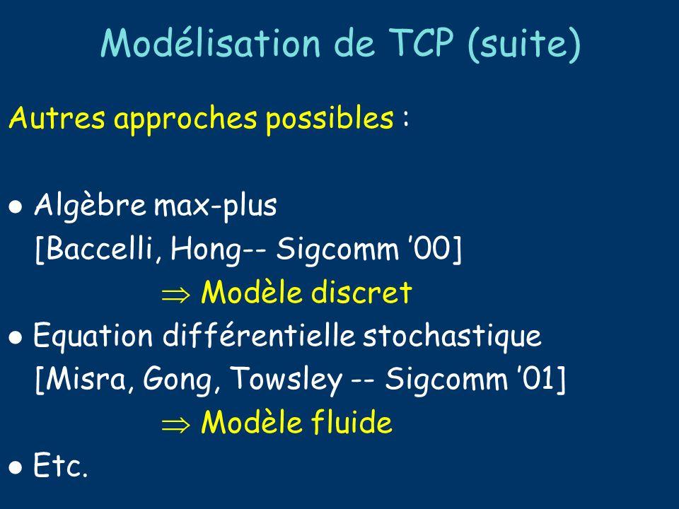 Modélisation de TCP (suite) Extensions du modèle : Timeouts Borne sur la fenêtre d émission Calcul des moments d ordre supérieur Etc.