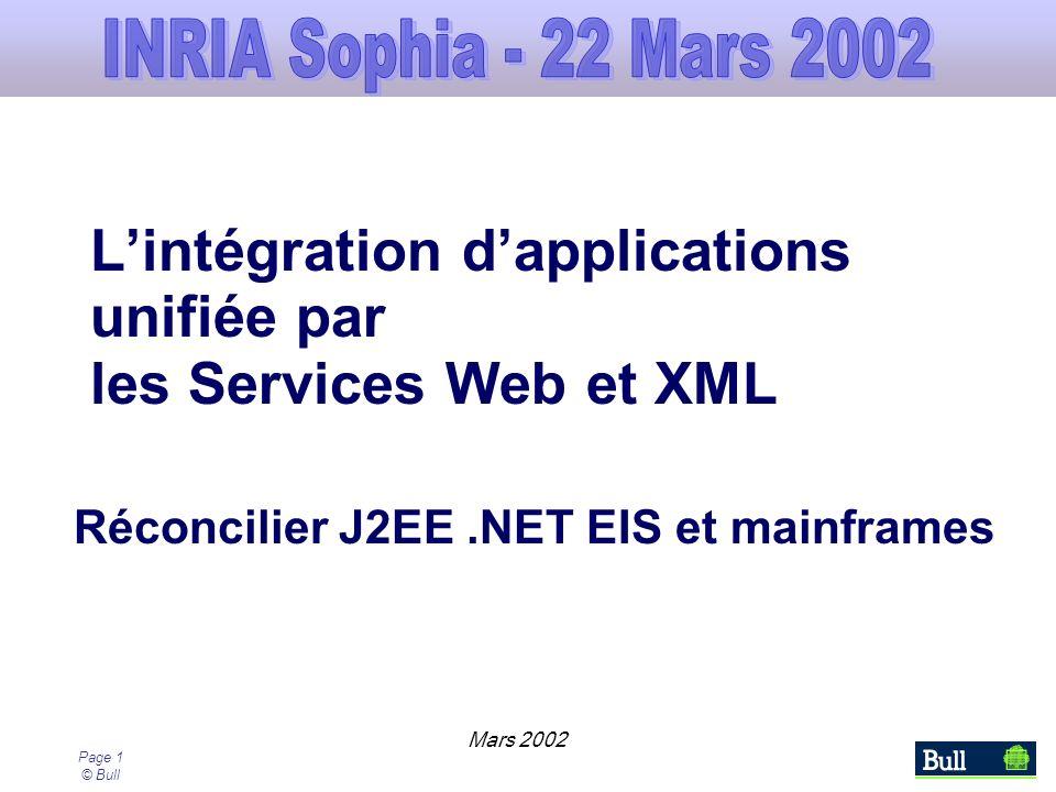 Page 1 © Bull Lintégration dapplications unifiée par les Services Web et XML Réconcilier J2EE.NET EIS et mainframes Mars 2002