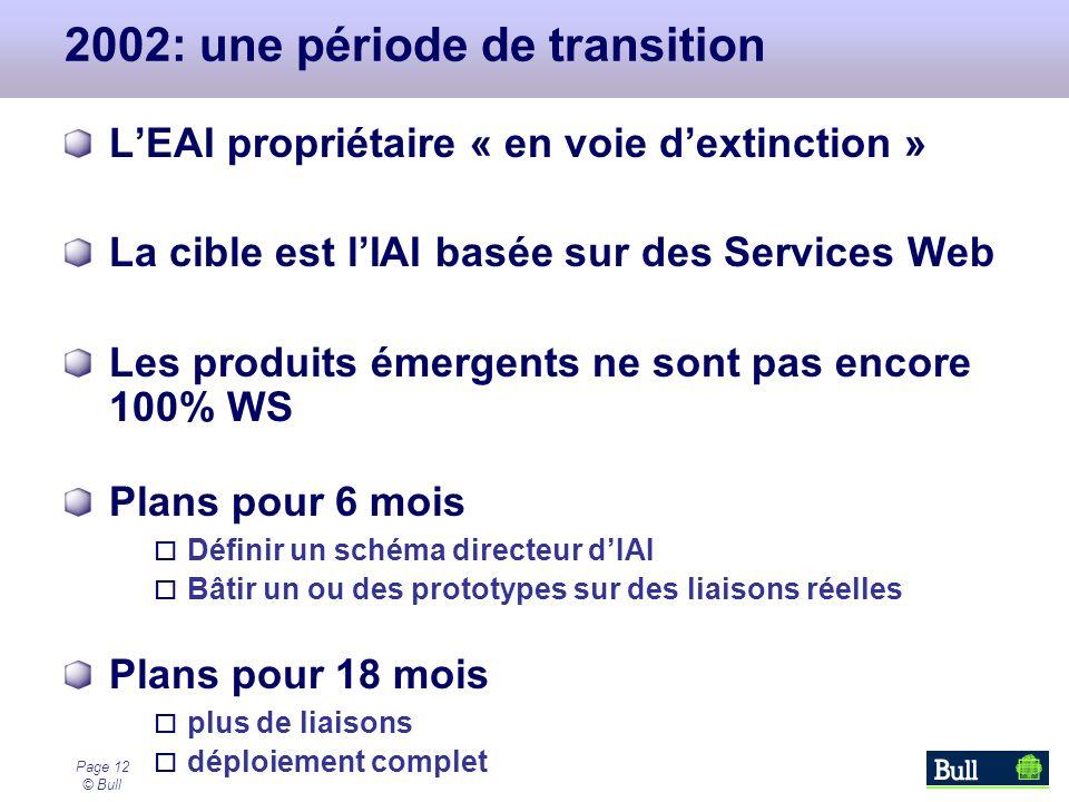 Page 12 © Bull 2002: une période de transition LEAI propriétaire « en voie dextinction » La cible est lIAI basée sur des Services Web Les produits éme