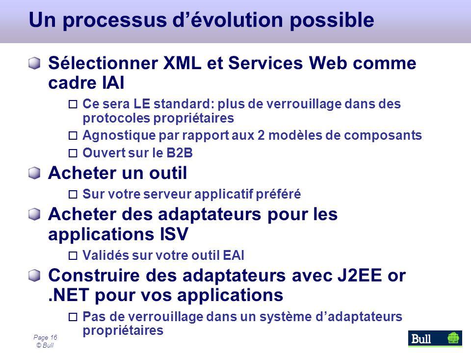 Page 16 © Bull Un processus dévolution possible Sélectionner XML et Services Web comme cadre IAI Ce sera LE standard: plus de verrouillage dans des pr