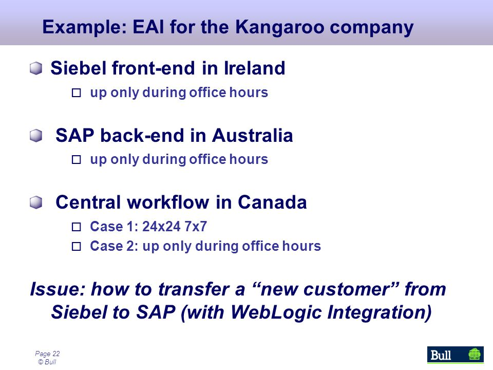 Page 22 © Bull Example: EAI for the Kangaroo company Siebel front-end in Ireland up only during office hours SAP back-end in Australia up only during office hours Central workflow in Canada Case 1: 24x24 7x7 Case 2: up only during office hours Issue: how to transfer a new customer from Siebel to SAP (with WebLogic Integration)