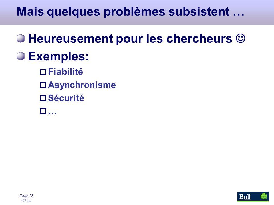 Page 25 © Bull Mais quelques problèmes subsistent … Heureusement pour les chercheurs Exemples: Fiabilité Asynchronisme Sécurité …
