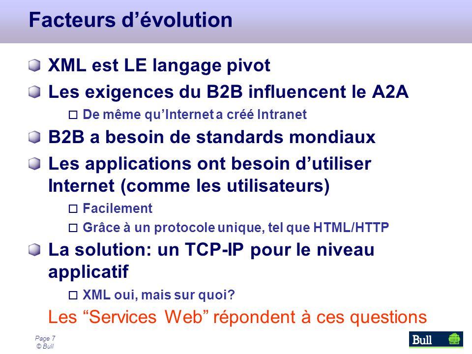 Page 7 © Bull Facteurs dévolution XML est LE langage pivot Les exigences du B2B influencent le A2A De même quInternet a créé Intranet B2B a besoin de standards mondiaux Les applications ont besoin dutiliser Internet (comme les utilisateurs) Facilement Grâce à un protocole unique, tel que HTML/HTTP La solution: un TCP-IP pour le niveau applicatif XML oui, mais sur quoi.