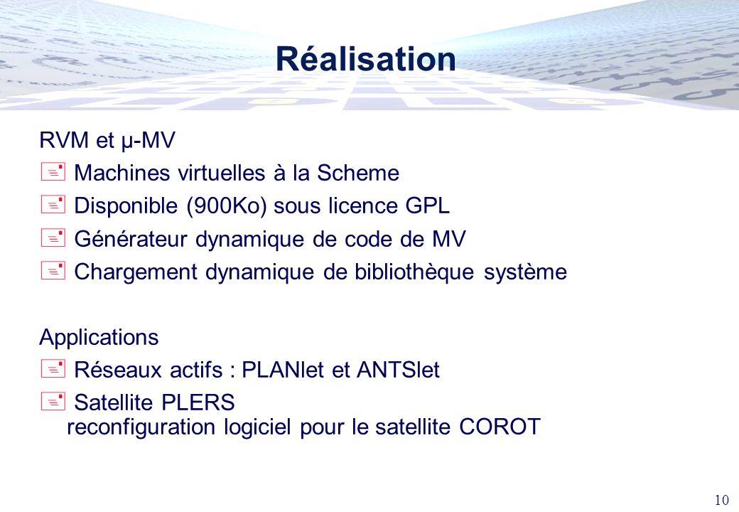 10 Réalisation RVM et µ-MV Machines virtuelles à la Scheme Disponible (900Ko) sous licence GPL Générateur dynamique de code de MV Chargement dynamique