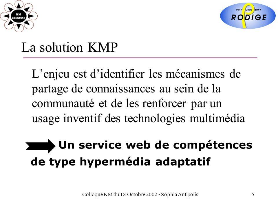 Colloque KM du 18 Octobre 2002 - Sophia Antipolis5 La solution KMP Lenjeu est didentifier les mécanismes de partage de connaissances au sein de la communauté et de les renforcer par un usage inventif des technologies multimédia Un service web de compétences de type hypermédia adaptatif