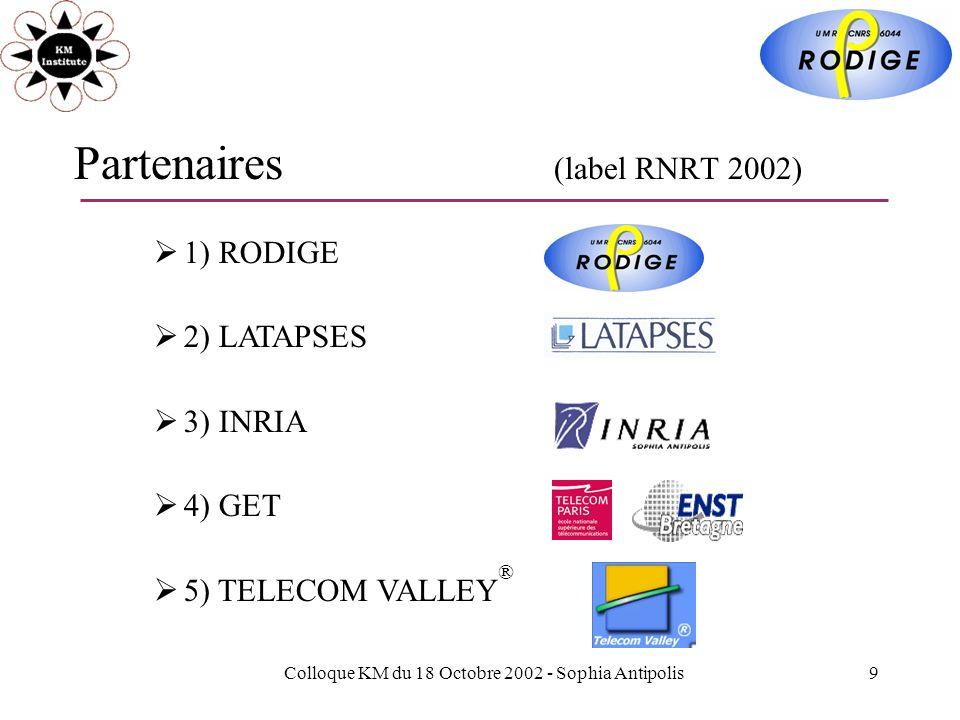 Colloque KM du 18 Octobre 2002 - Sophia Antipolis9 Partenaires (label RNRT 2002) 1) RODIGE 2) LATAPSES 3) INRIA 4) GET 5) TELECOM VALLEY ®