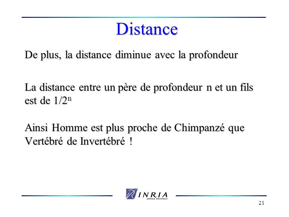 21 Distance De plus, la distance diminue avec la profondeur La distance entre un père de profondeur n et un fils est de 1/2 n Ainsi Homme est plus pro