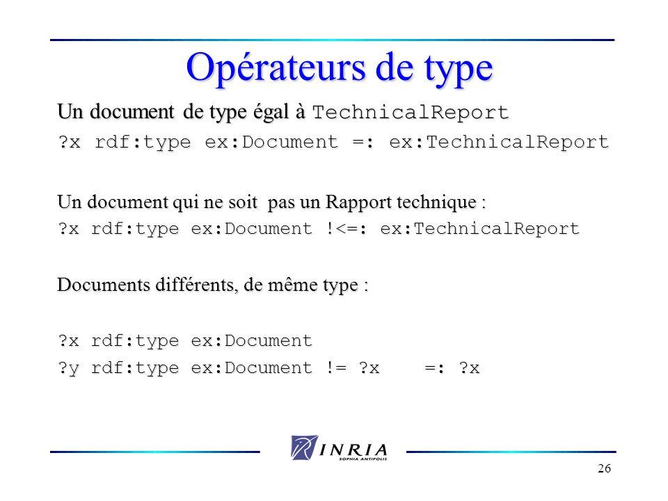 26 Opérateurs de type Un document de type égal à TechnicalReport ?x rdf:type ex:Document =: ex:TechnicalReport Un document qui ne soit pas un Rapport