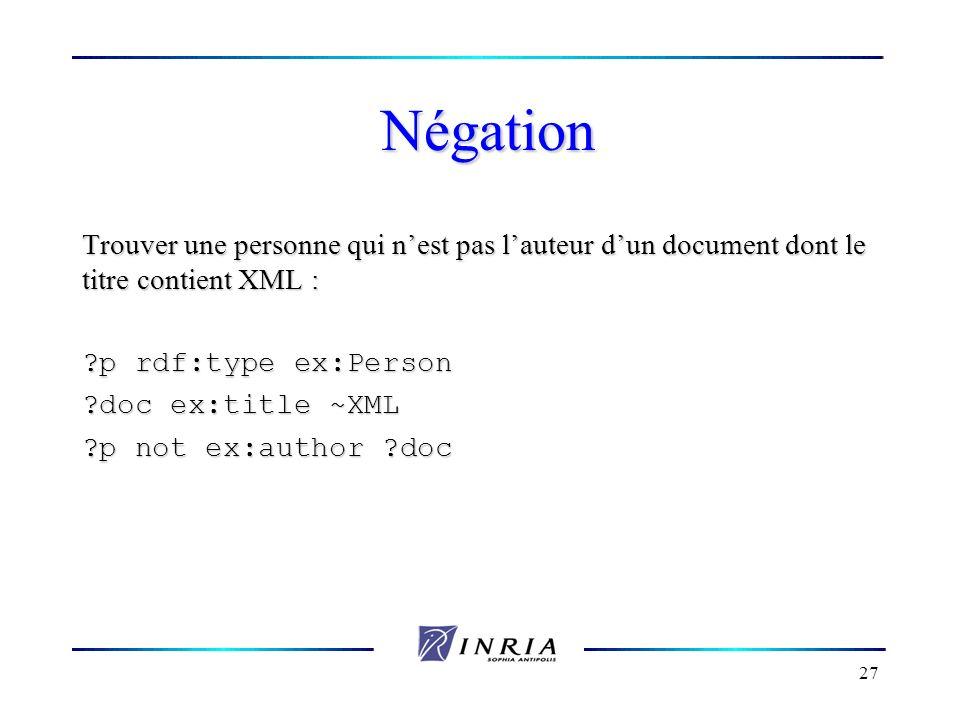 27 Négation Trouver une personne qui nest pas lauteur dun document dont le titre contient XML : ?p rdf:type ex:Person ?doc ex:title ~XML ?p not ex:aut