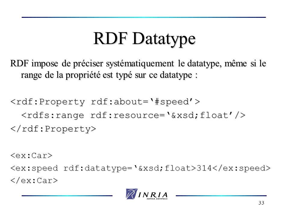 33 RDF Datatype RDF impose de préciser systématiquement le datatype, même si le range de la propriété est typé sur ce datatype : </rdf:Property><ex:Ca