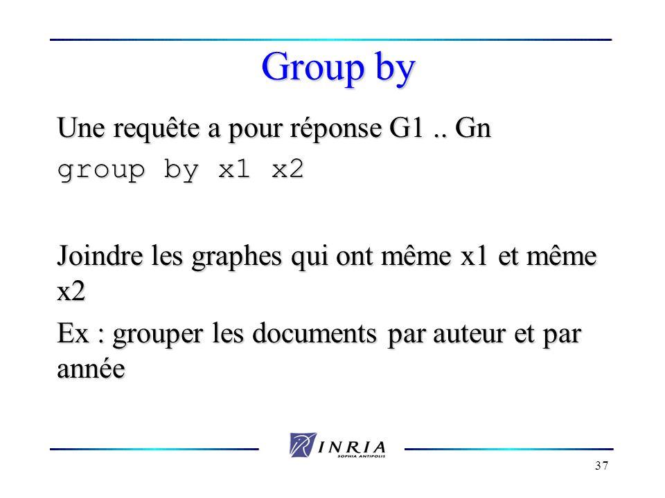 37 Group by Une requête a pour réponse G1.. Gn group by x1 x2 Joindre les graphes qui ont même x1 et même x2 Ex : grouper les documents par auteur et