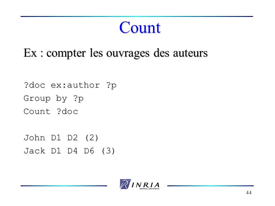 44 Count Ex : compter les ouvrages des auteurs ?doc ex:author ?p Group by ?p Count ?doc John D1 D2 (2) Jack D1 D4 D6 (3)