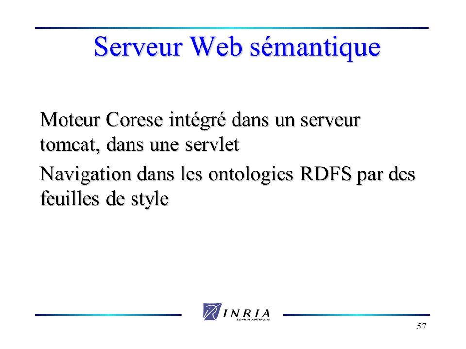 57 Serveur Web sémantique Moteur Corese intégré dans un serveur tomcat, dans une servlet Navigation dans les ontologies RDFS par des feuilles de style