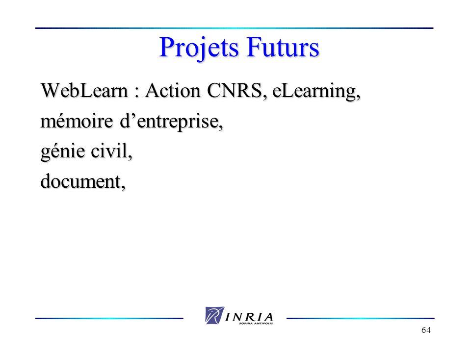 64 Projets Futurs WebLearn : Action CNRS, eLearning, mémoire dentreprise, génie civil, document,