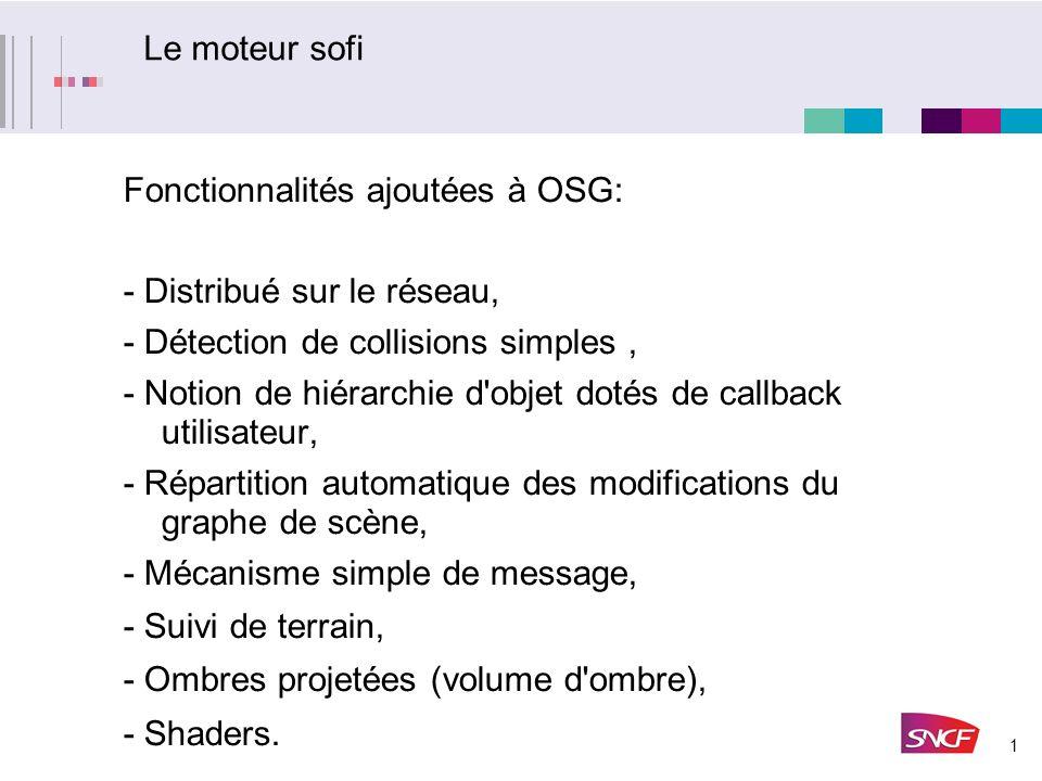 1 Le moteur sofi Fonctionnalités ajoutées à OSG: - Distribué sur le réseau, - Détection de collisions simples, - Notion de hiérarchie d'objet dotés de
