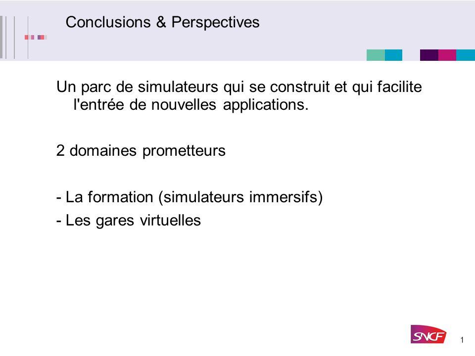 1 Conclusions & Perspectives Un parc de simulateurs qui se construit et qui facilite l'entrée de nouvelles applications. 2 domaines prometteurs - La f