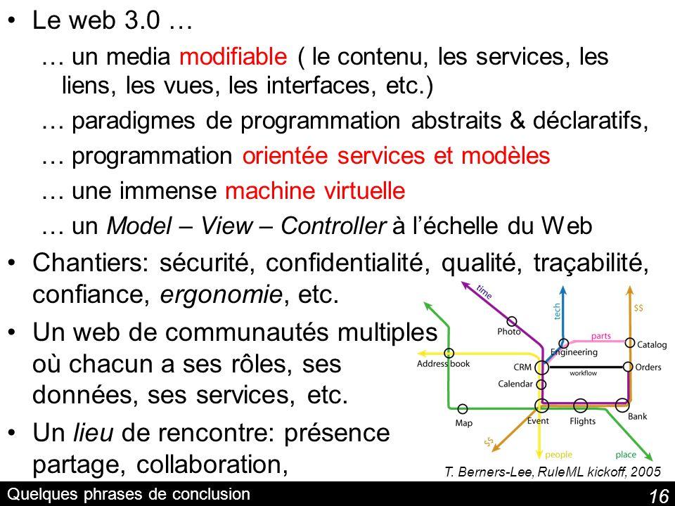 16 Quelques phrases de conclusion Le web 3.0 … … un media modifiable ( le contenu, les services, les liens, les vues, les interfaces, etc.) … paradigm