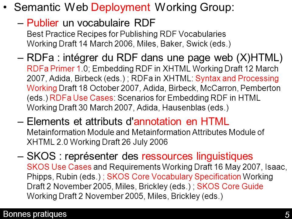 5 Bonnes pratiques Semantic Web Deployment Working Group: –Publier un vocabulaire RDF Best Practice Recipes for Publishing RDF Vocabularies Working Dr