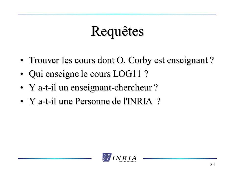 34 Requêtes Trouver les cours dont O. Corby est enseignant ? Trouver les cours dont O. Corby est enseignant ? Qui enseigne le cours LOG11 ? Qui enseig