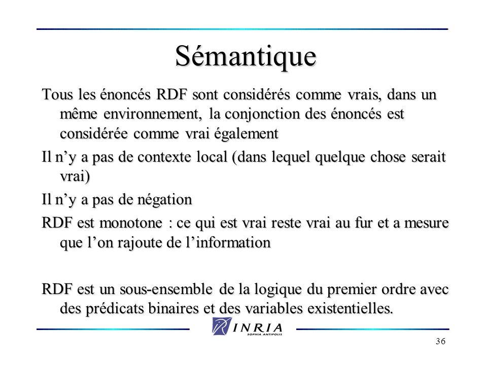 36 Sémantique Tous les énoncés RDF sont considérés comme vrais, dans un même environnement, la conjonction des énoncés est considérée comme vrai égale