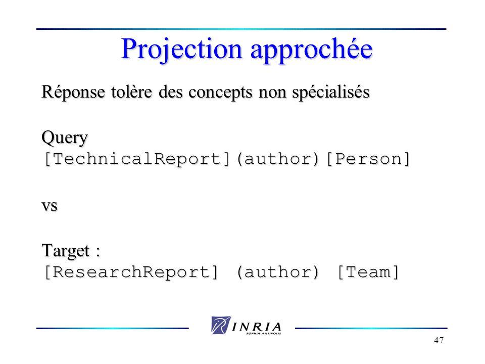 47 Projection approchée Réponse tolère des concepts non spécialisés Query[TechnicalReport](author)[Person]vs Target : [ResearchReport] (author) [Team]