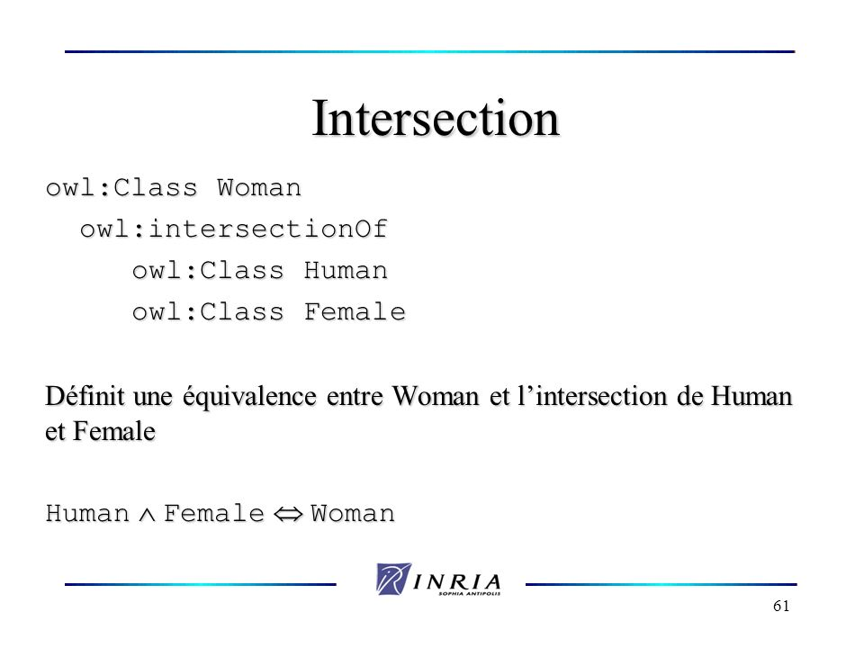 61 Intersection owl:Class Woman owl:intersectionOf owl:intersectionOf owl:Class Human owl:Class Female Définit une équivalence entre Woman et lintersection de Human et Female Human Female Woman