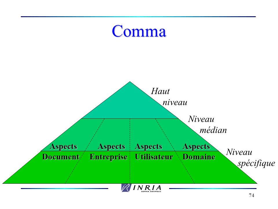 74 Comma Niveau spécifique Haut niveau Niveau médian AspectsEntrepriseAspectsDocumentAspectsUtilisateurAspectsDomaine