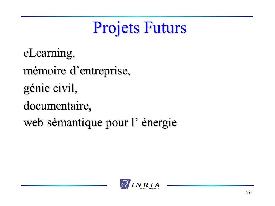 76 Projets Futurs eLearning, mémoire dentreprise, génie civil, documentaire, web sémantique pour l énergie