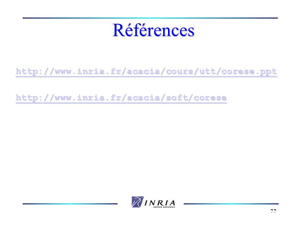 77 Références http://www.inria.fr/acacia/cours/utt/corese.ppt http://www.inria.fr/acacia/soft/corese