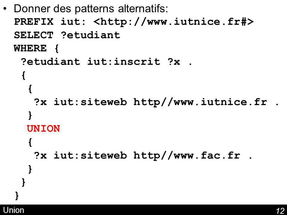 12 Union Donner des patterns alternatifs: PREFIX iut: SELECT ?etudiant WHERE { ?etudiant iut:inscrit ?x. { { ?x iut:siteweb http//www.iutnice.fr. } UN