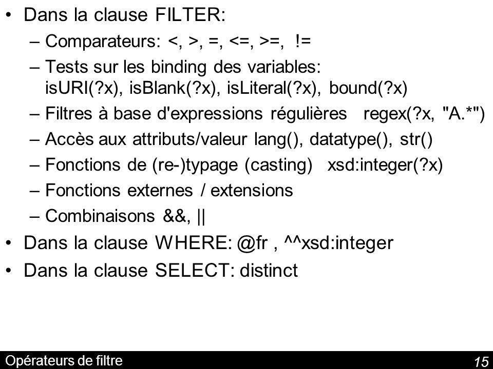 15 Opérateurs de filtre Dans la clause FILTER: –Comparateurs:, =, =, != –Tests sur les binding des variables: isURI(?x), isBlank(?x), isLiteral(?x), bound(?x) –Filtres à base d expressions régulières regex(?x, A.* ) –Accès aux attributs/valeur lang(), datatype(), str() –Fonctions de (re-)typage (casting) xsd:integer(?x) –Fonctions externes / extensions –Combinaisons &&, || Dans la clause WHERE: @fr, ^^xsd:integer Dans la clause SELECT: distinct