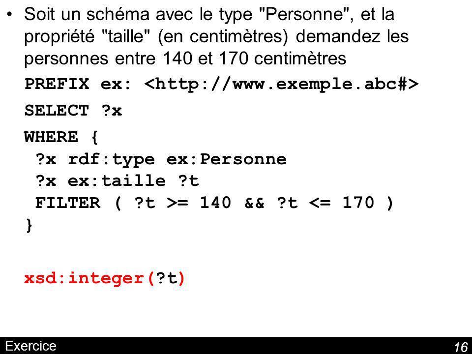 16 Exercice Soit un schéma avec le type Personne , et la propriété taille (en centimètres) demandez les personnes entre 140 et 170 centimètres PREFIX ex: SELECT ?x WHERE { ?x rdf:type ex:Personne ?x ex:taille ?t FILTER ( ?t >= 140 && ?t <= 170 ) } xsd:integer(?t)
