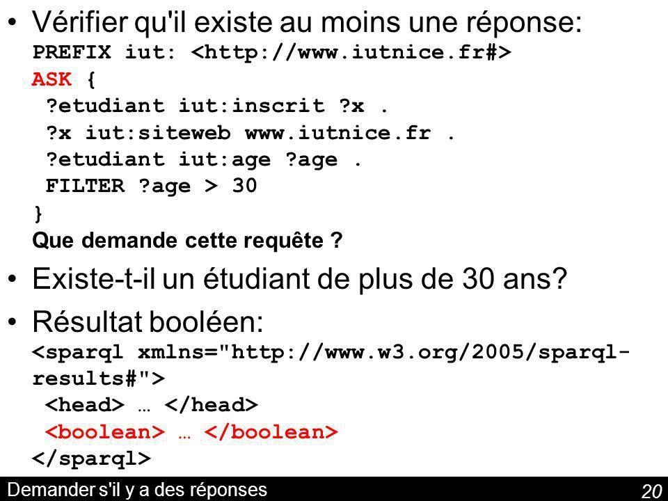 20 Demander s il y a des réponses Vérifier qu il existe au moins une réponse: PREFIX iut: ASK { ?etudiant iut:inscrit ?x.