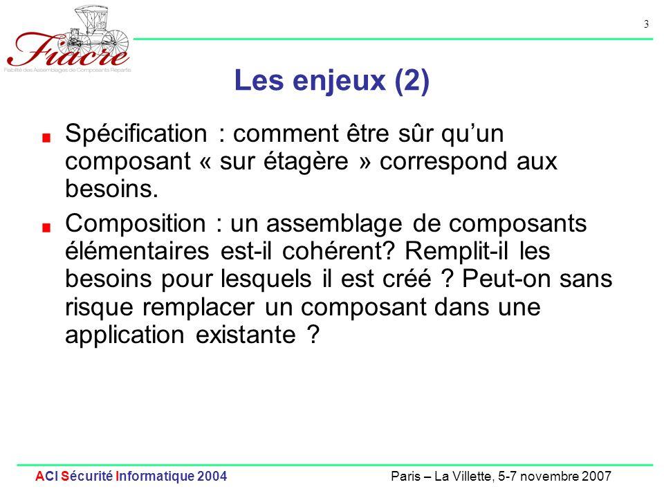 4 ACI Sécurité Informatique 2004Paris – La Villette, 5-7 novembre 2007 Situation actuelle : vérification de composants La spécification, et la vérification de compatibilité des composants sont actuellement réduits à la syntaxe et au typage statique Des outils de vérification de composants (Java) séquentiels ou multi-threadés existent : Génération de modèles finis : Bandera (KSU), Java PathFinder (NASA), SLAM (Microsoft) Vérification par assertions : MOBIJ (LIACS, Pays-Bas) Modélisation et conception : Cadena (KSU) Mais les fonctionnalités permettant de vérifier les aspects distribués des assemblages de composants répartis sont peu nombreuses