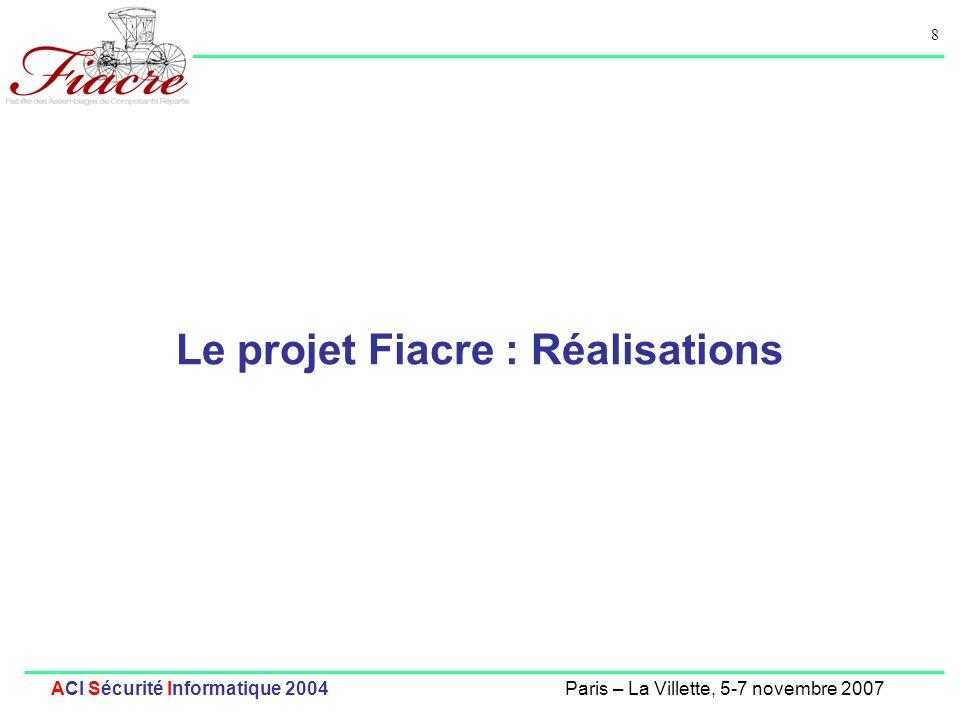 9 ACI Sécurité Informatique 2004Paris – La Villette, 5-7 novembre 2007 Axe 1 : Langages de Spécification, Formats Intermédiaires Modèle Sémantique: pNets (parameterized Networks of Labelled Transition Systems) [Forte 04] Langage Intermédiaire FIACRE (Format Intermédiaire pour les Assemblages de Composants Répartis Embarqués).