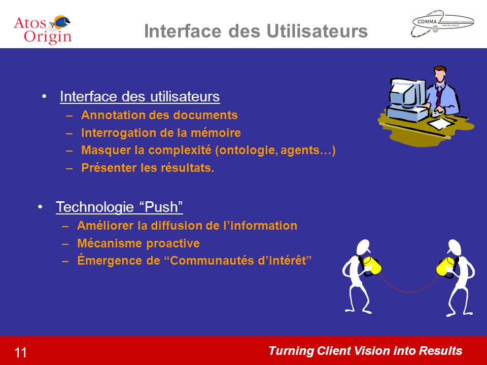 Turning Client Vision into Results 11 Interface des Utilisateurs Interface des utilisateurs –Annotation des documents –Interrogation de la mémoire –Ma