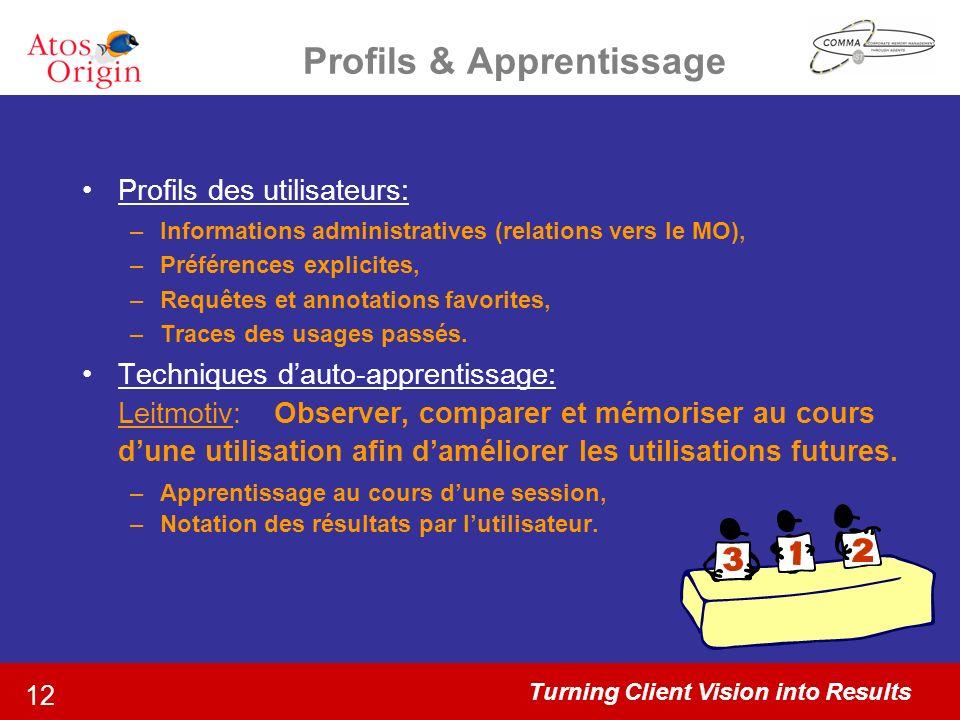 Turning Client Vision into Results 12 Profils & Apprentissage Profils des utilisateurs: –Informations administratives (relations vers le MO), –Préfére