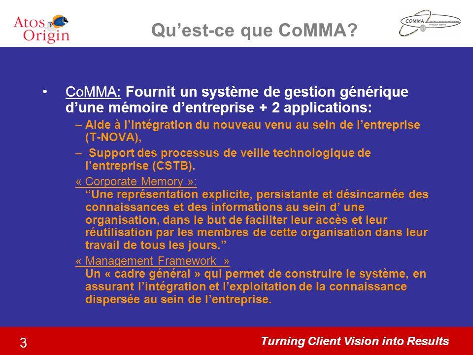 Turning Client Vision into Results 3 Quest-ce que CoMMA? CoMMA: Fournit un système de gestion générique dune mémoire dentreprise + 2 applications: –Ai