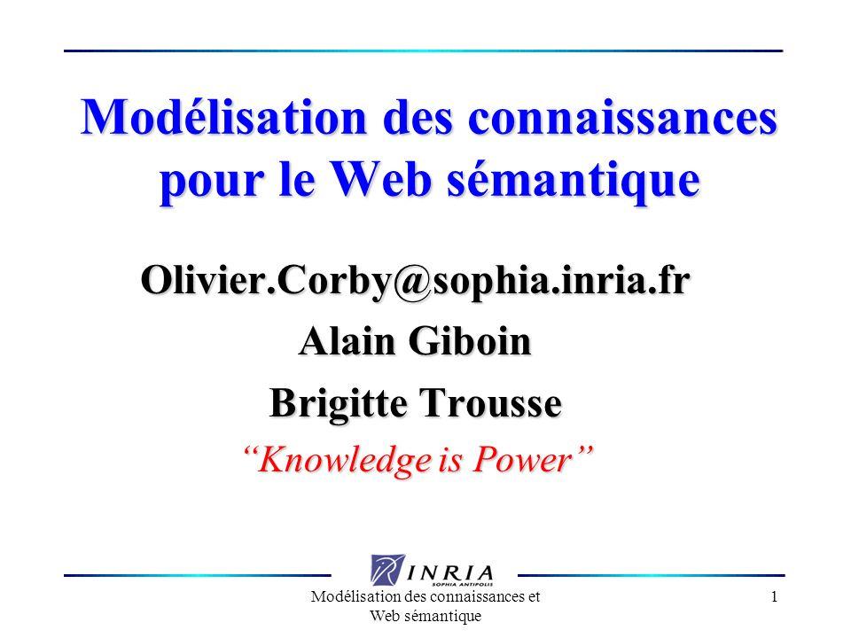 Modélisation des connaissances et Web sémantique 1 Modélisation des connaissances pour le Web sémantique Olivier.Corby@sophia.inria.fr Alain Giboin Br