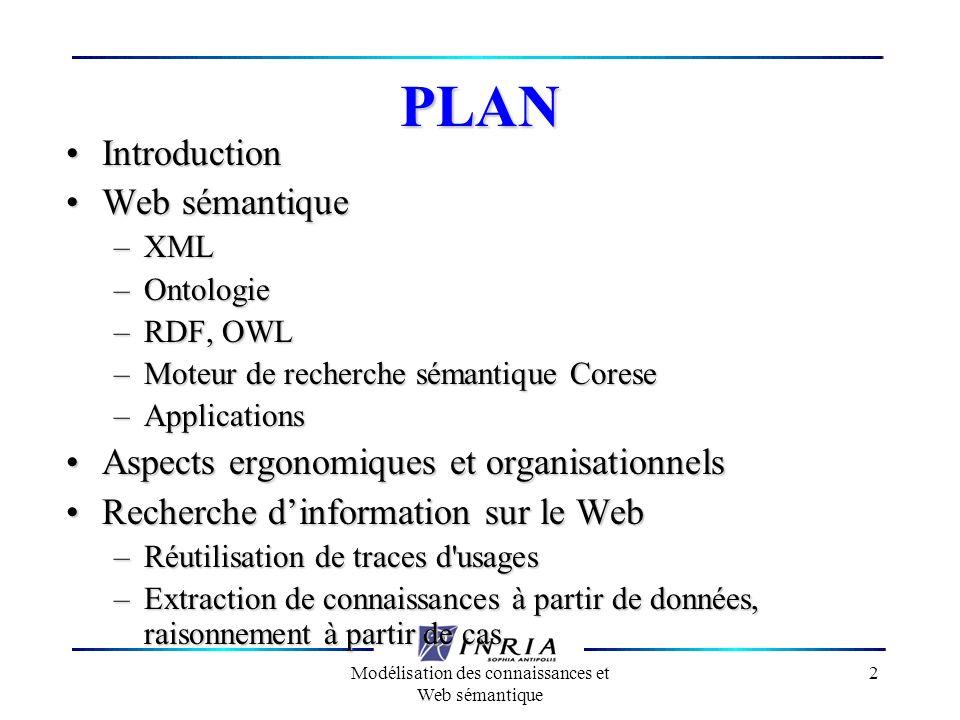 Modélisation des connaissances et Web sémantique 2 PLAN IntroductionIntroduction Web sémantiqueWeb sémantique –XML –Ontologie –RDF, OWL –Moteur de rec