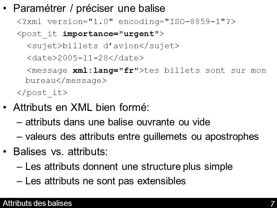 38 Modèle de graphe Modèle de graphe: jointure /conjonction de triplets Chaque triplet représente un arc étiqueté entre deux sommets dun graphe orienté pas forcément connexe: –(http://inria.fr/doc.html, auteur, urn://~fgandon) –(urn://~fgandon, nom, Fabien ) –(http://inria.fr/doc.html, sujet, Web ) http://inria.fr/doc.htmlurn://~fgandon auteur Fabien nom Web sujet