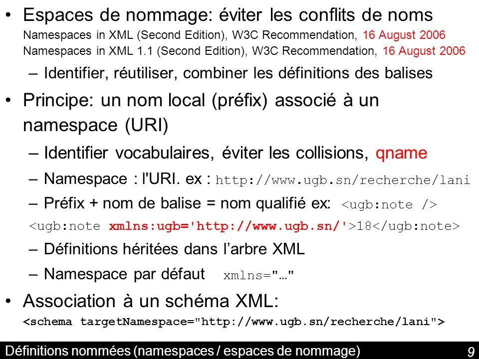 40 Les nœuds anonymes (blank nodes) http://bu.ch/l23.html auteur Les zélés faons roses titre Laurent nom Trichard prenom Une ressource peut ne pas être identifiée ; sémantique = quantification existentielle il existe une resource telle que… { r ; …} Trichard Laurent Les zélés faons roses _:abc x ; auteur(http://bu.ch/l23.html,x) nom(x, Trichard ) prenom(x, Laurent )