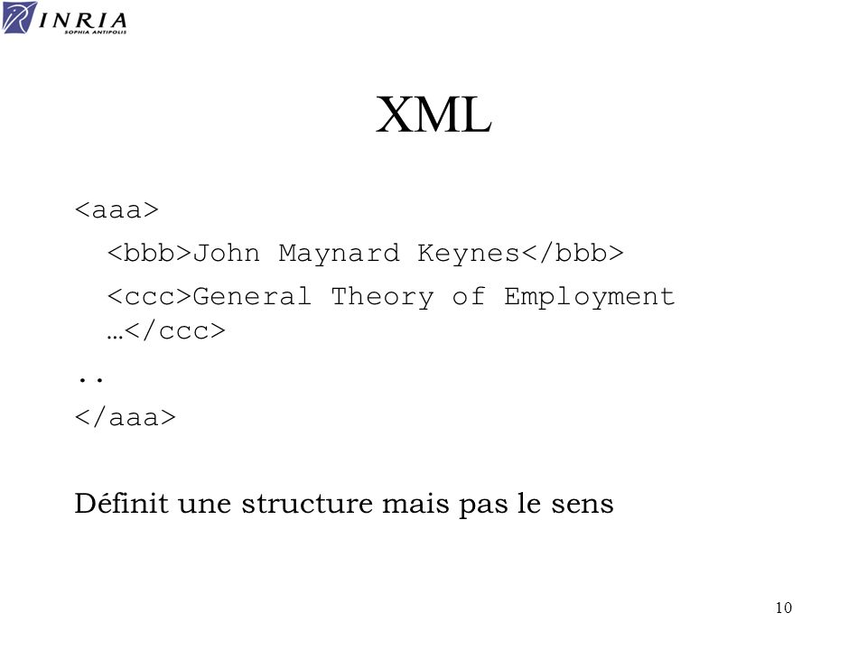 10 XML John Maynard Keynes General Theory of Employment ….. Définit une structure mais pas le sens