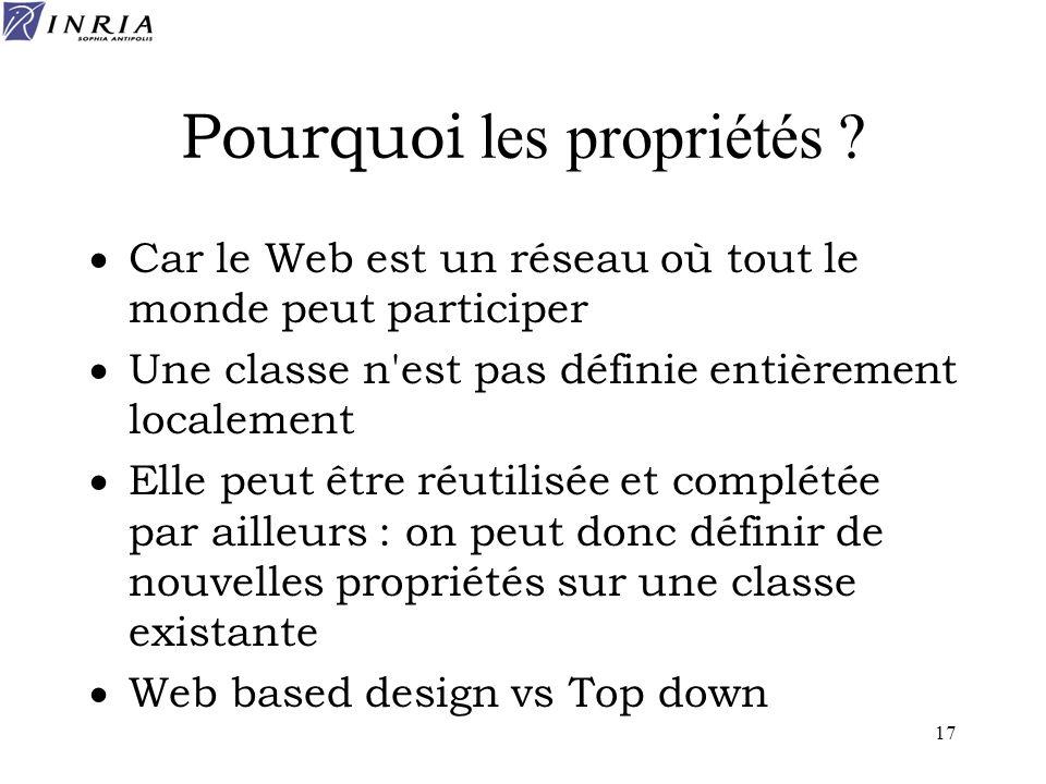 17 Pourquoi les propriétés ? Car le Web est un réseau où tout le monde peut participer Une classe n'est pas définie entièrement localement Elle peut ê